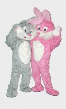 The Twins Bunny mascots for rental