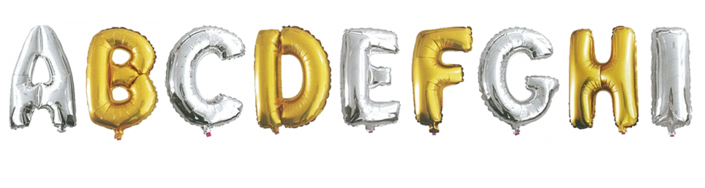 Metallic Silver or Gold Alphabet
